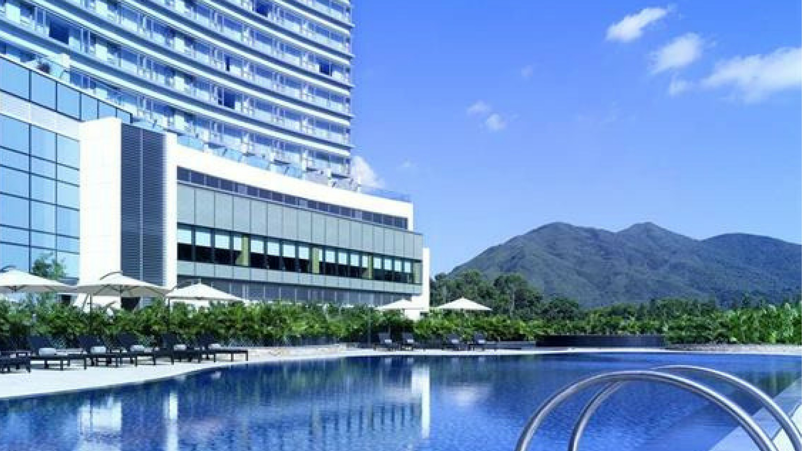 Hyatt Regency Hong Kong, Sha Tin Family Friendly Hotel view of mountain and pool